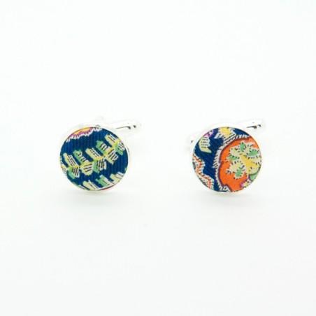 Boutons de manchette Liberty Felix & Isabelle Bleu Jaune