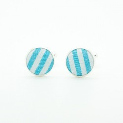Boutons de manchette Rayures Turquoise