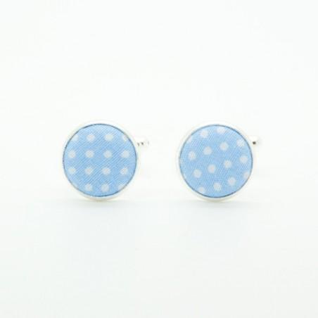 Boutons de manchette Bleu ciel Mini Pois