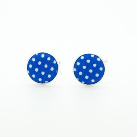 Boutons de manchette Bleu Dur Mini Pois
