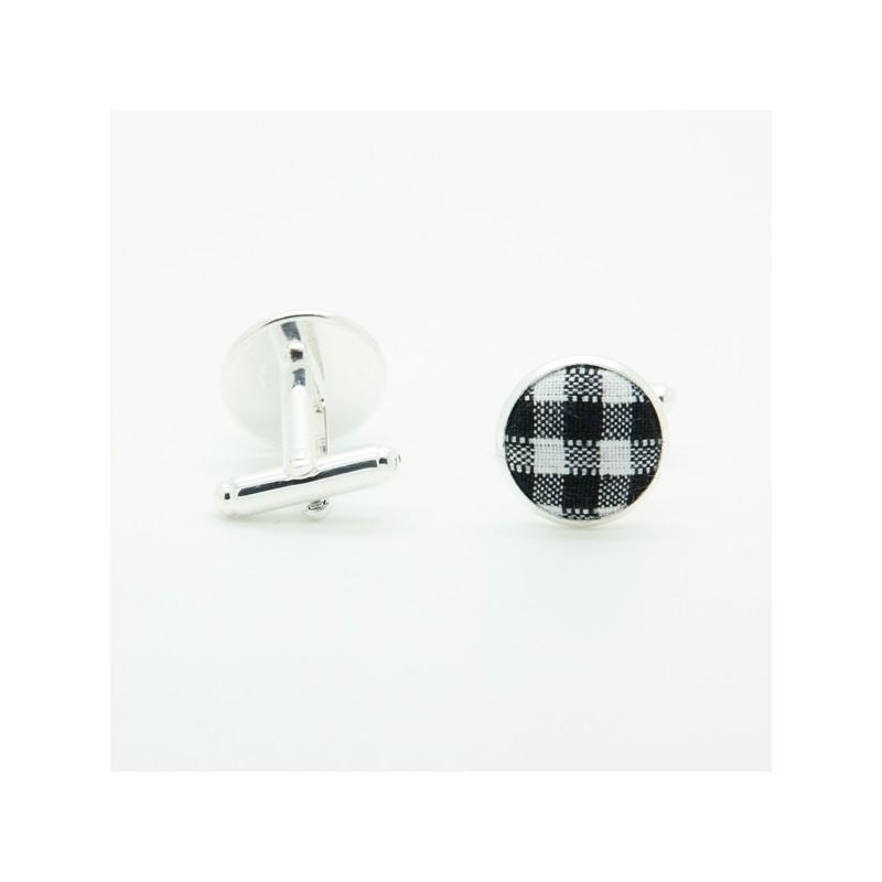 Boutons de manchette Vichy Noir & Blanc