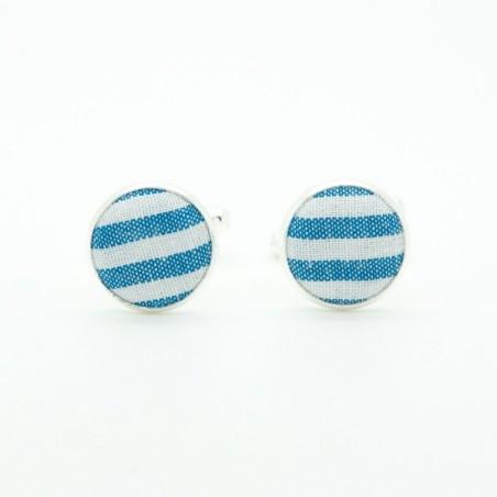 Boutons de manchette Rayures Bleu Azur