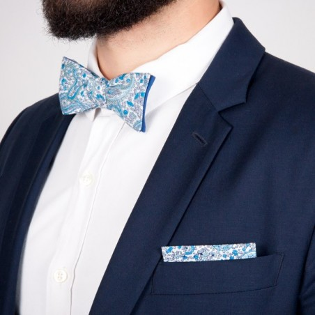 dark blue Seikaiha Japanese Bow tie