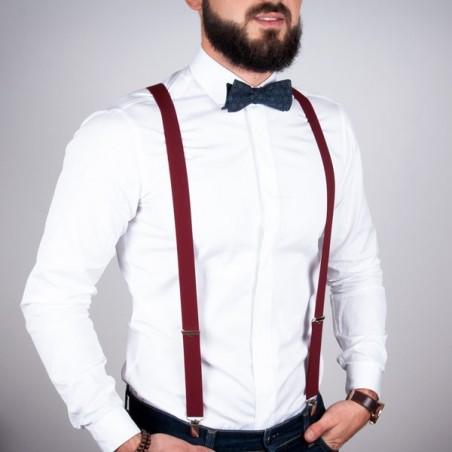 Burgundy skinny suspenders