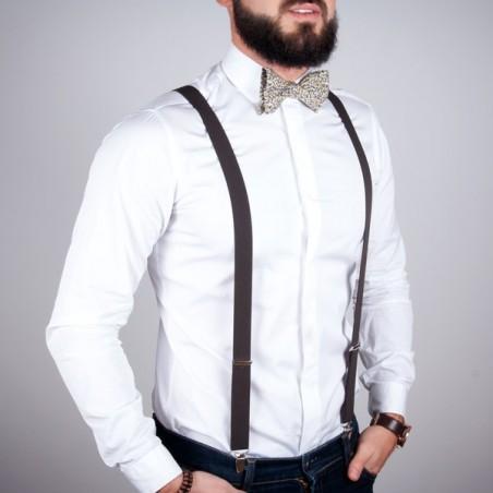Brown skinny suspenders