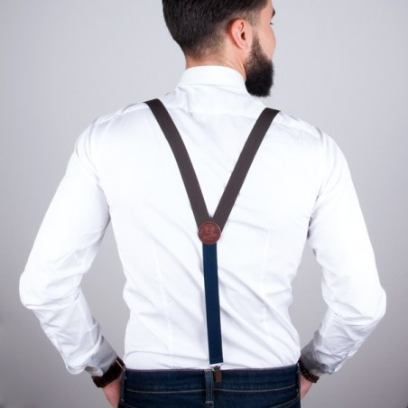 Brown skinny suspenders