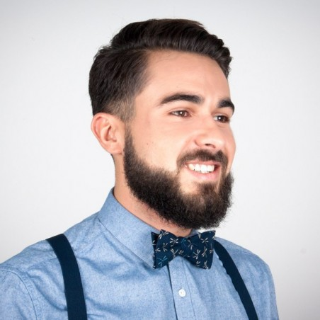 Navy Blue Dragonfly Japanese Bow Tie