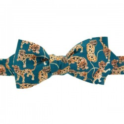 Peacock Blue Tiger Liberty Bow Tie