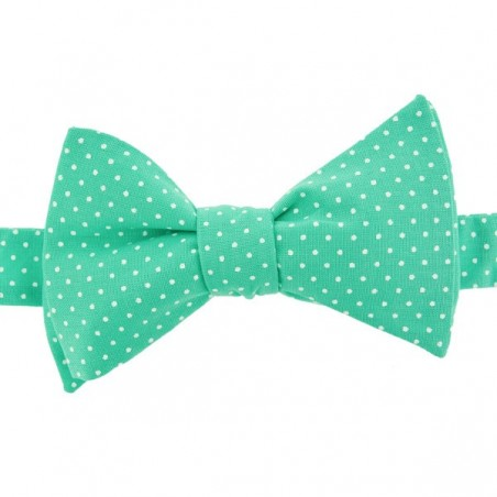 Mint Green with Pin Dots Bow Tie