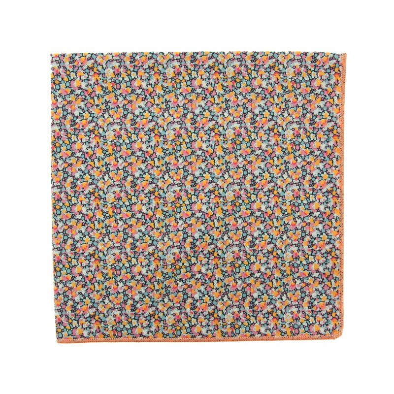 Orange / grey Pepper Liberty pocket square