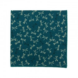 Peacock Blue dragonfly Japanese pocket square