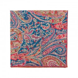 Coral / blue Felix & Isabelle Liberty pocket square