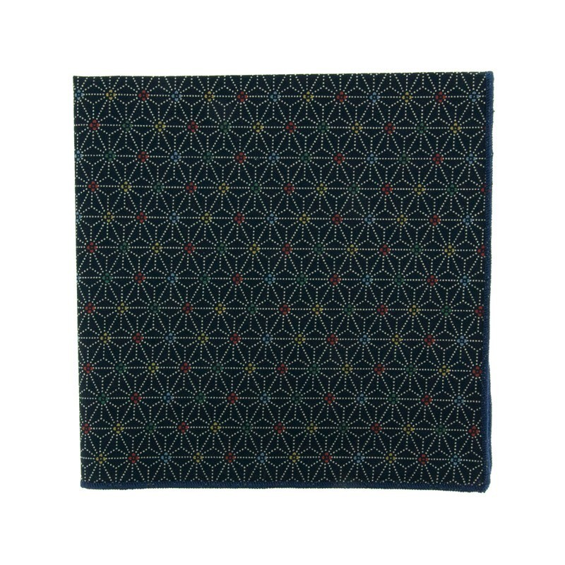 Blue multicouloured Asanoha pocket square