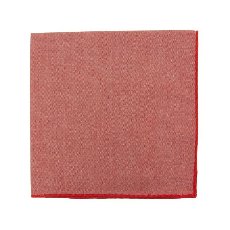 Pochette de costume en Chambray rouge