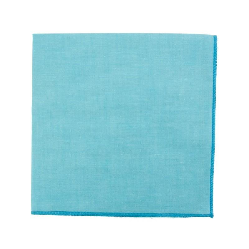Cyan blue chambray pocket square