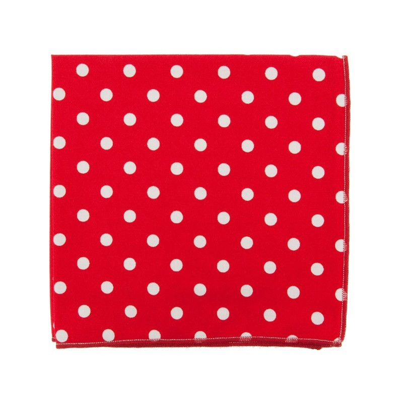 Red Large dots pocket square