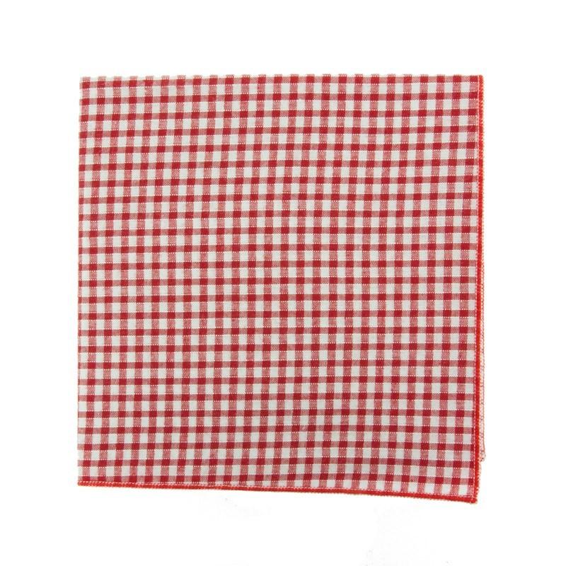 Red Gungham pocket square