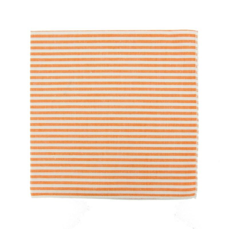 Pochette de costume à rayures orange