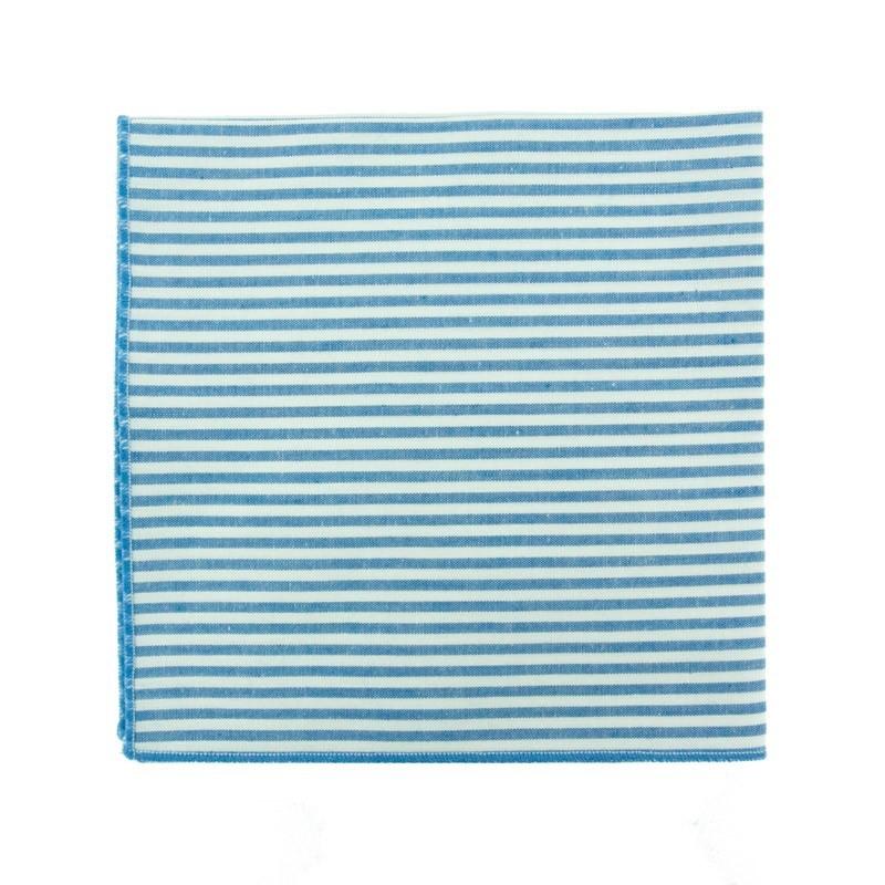 Azur blue stripe pocket square