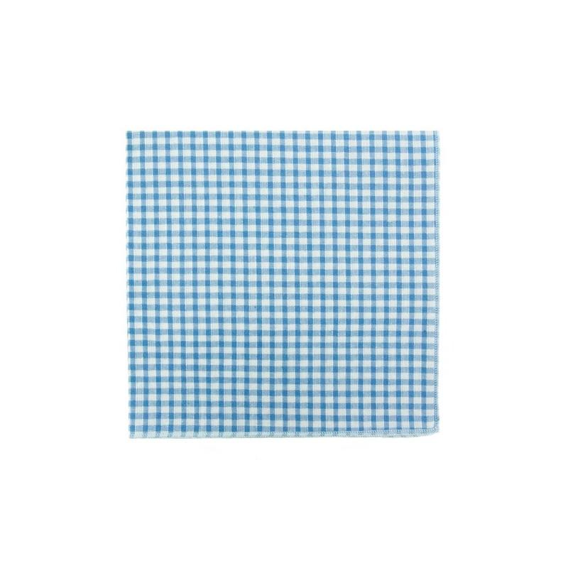 Light blue Gungham pocket square