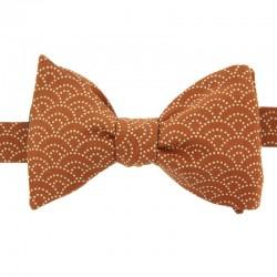 Ochre Seigaiha Japanese Bow Tie