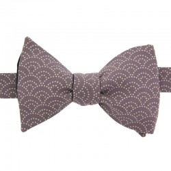 Purple Seigaiha Japanese Bow Tie