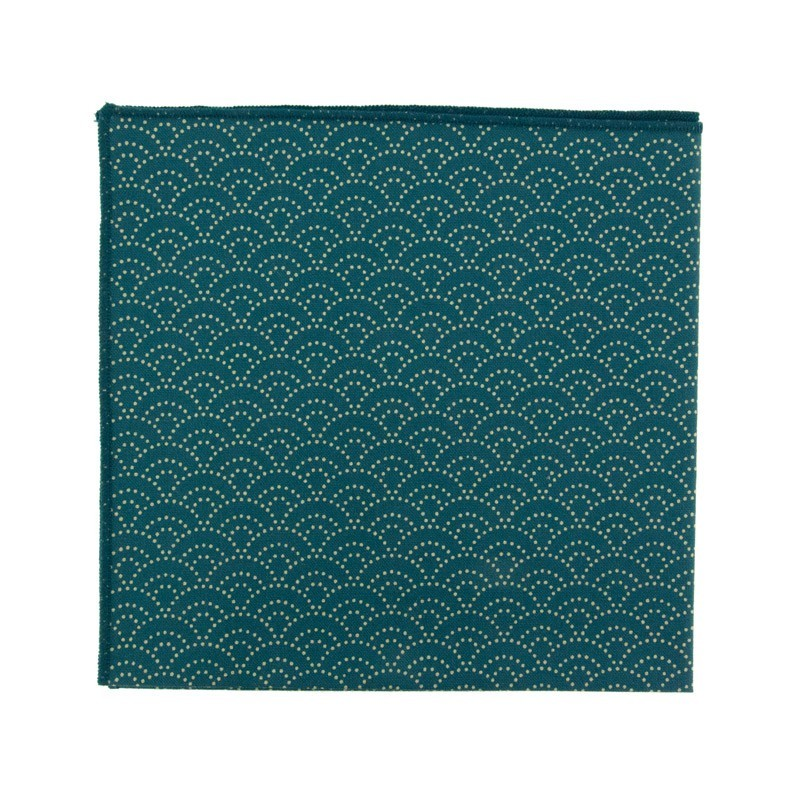 Peacock blue Seigaiha Japanese pocket square