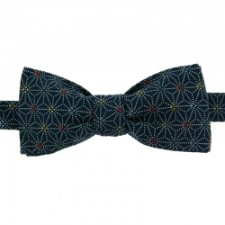 Blue Multicoloured Asanoha Japanese Bow Tie