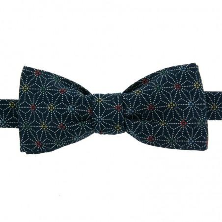 Blue Multicoloured Asanoha Japanese Bow Tie