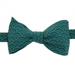 Peacock Blue Seigaiha Japanese Bow Tie