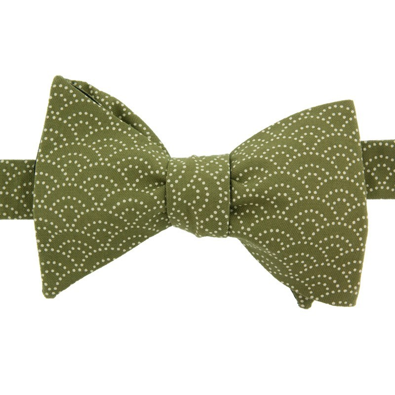 Green Seigaiha Japanese Bow Tie