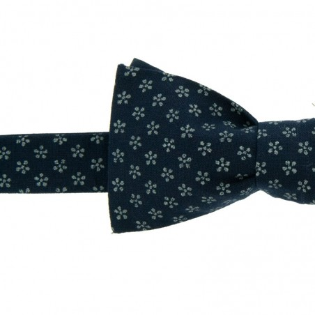Dark blue Apple Blossom Japanese Bow tie
