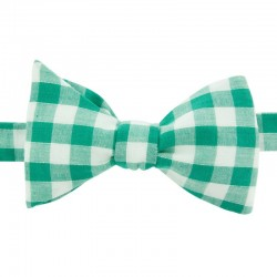 Green Large Gingham Bow Tie