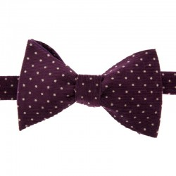 White dots on purple velvet Japanese Bow Tie