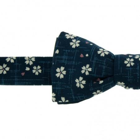Navy Sakura Japanese Bow Tie