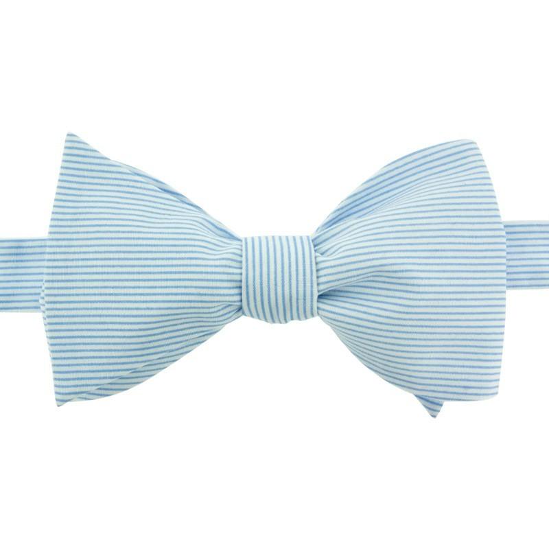 Noeud Papillon à Fines Rayures Bleu Ciel