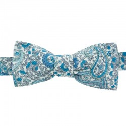 Noeud Papillon Liberty Charles cachemire bleu forme slim