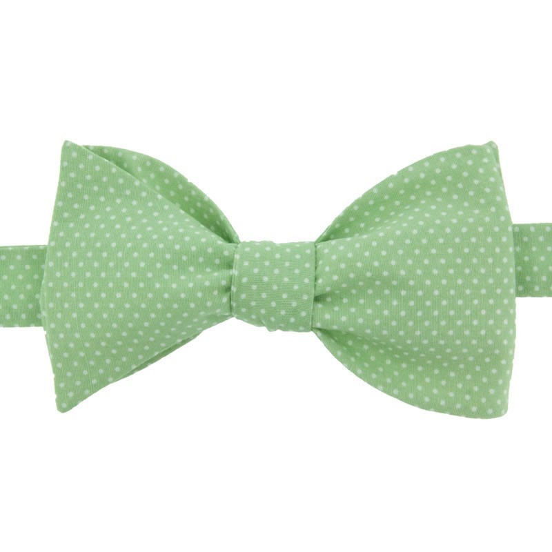 Laurel Green with polka dots Bow Tie