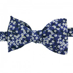 Noeud Papillon Liberty bleu et blanc Mitsi Valéria forme classique