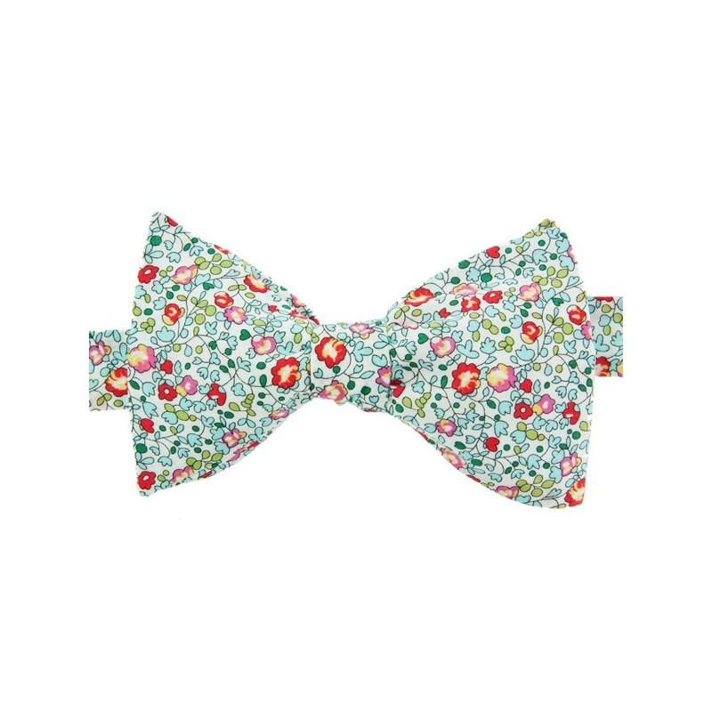 Noeud Papillon Liberty Eloise Turquoise Corail