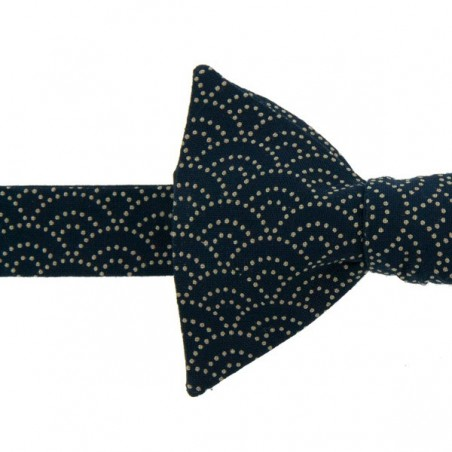 Navy Blue Seigaiha Japanese Bow Tie