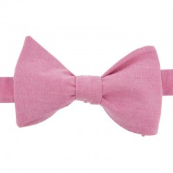 Pink chambray bow tie