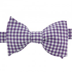 Purple Gingham Bow Tie