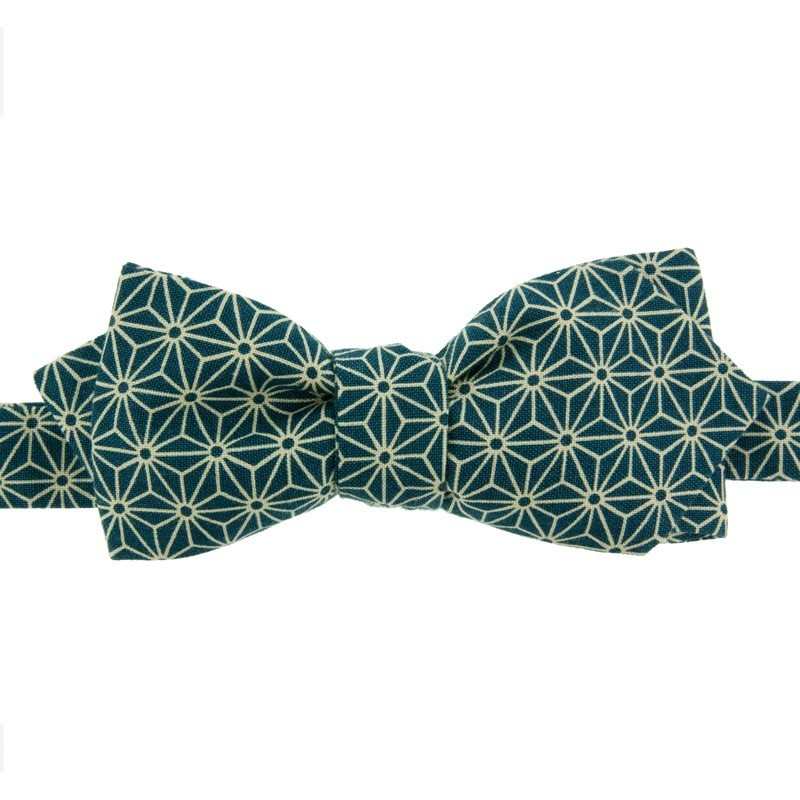 Peacock Blue Asanoha Japanese Bow Tie
