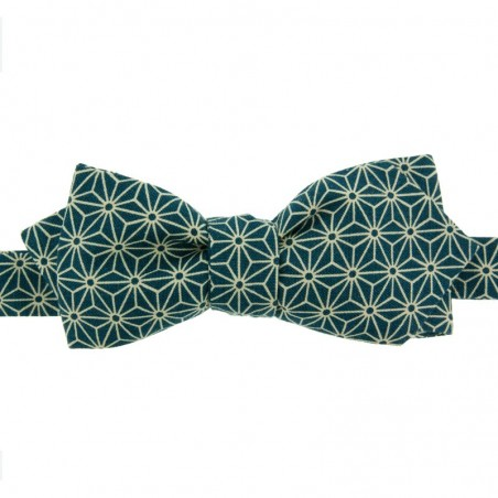 Peacock Blue Asanoha Japanese Bow Tie