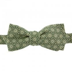 Khaki Asanoha Japanese Bow Tie