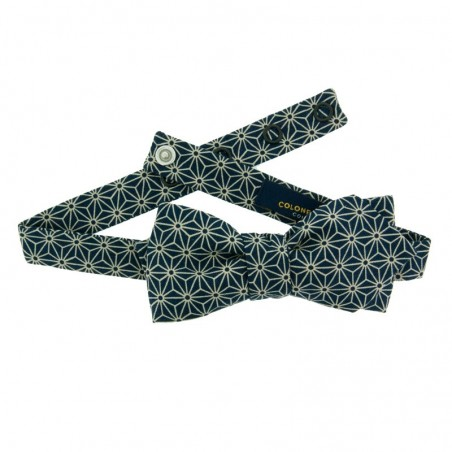 Navy Blue Asanoha Japanese Bow Tie