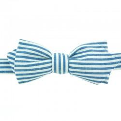 Noeud Papillon à Rayures Bleu Azur