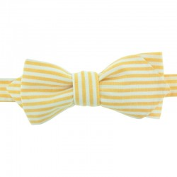 Pastel Yellow Striped Bow Tie