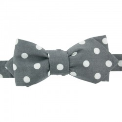 Grey with White Spots Bow Tie